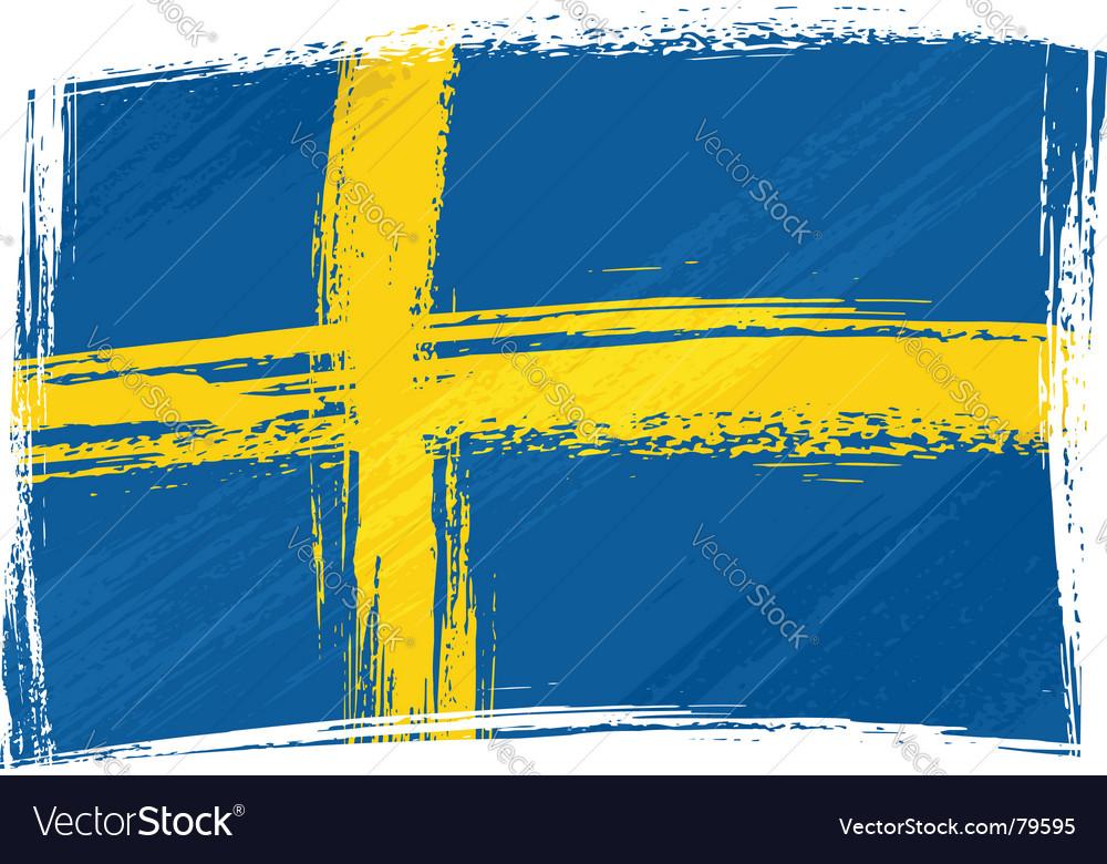 Grunge Sweden flag vector image