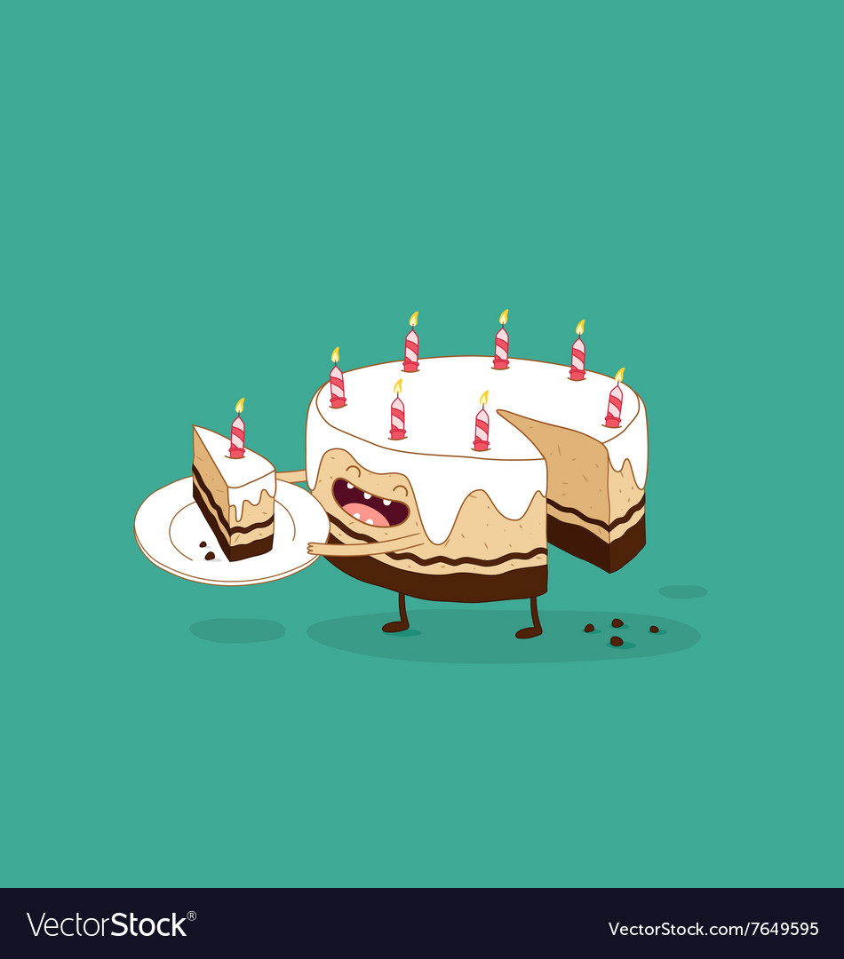 Enjoyable Happy Birthday Cake Royalty Free Vector Image Vectorstock Funny Birthday Cards Online Alyptdamsfinfo