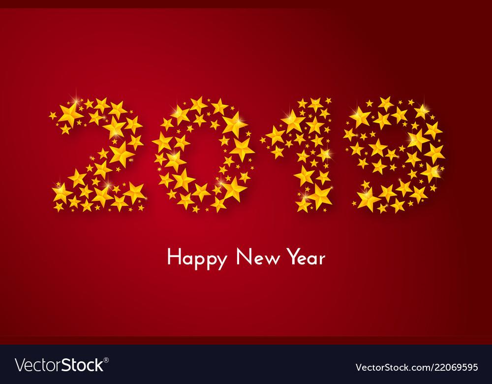 Holiday New Year 2019 Gift Card Royalty Free Vector Image