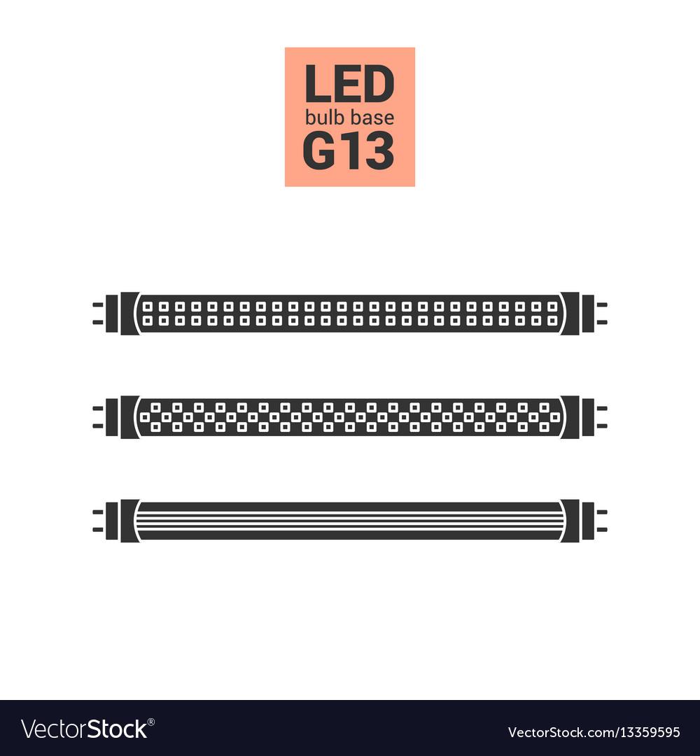 Led light g13 bulbs silhouette icon set