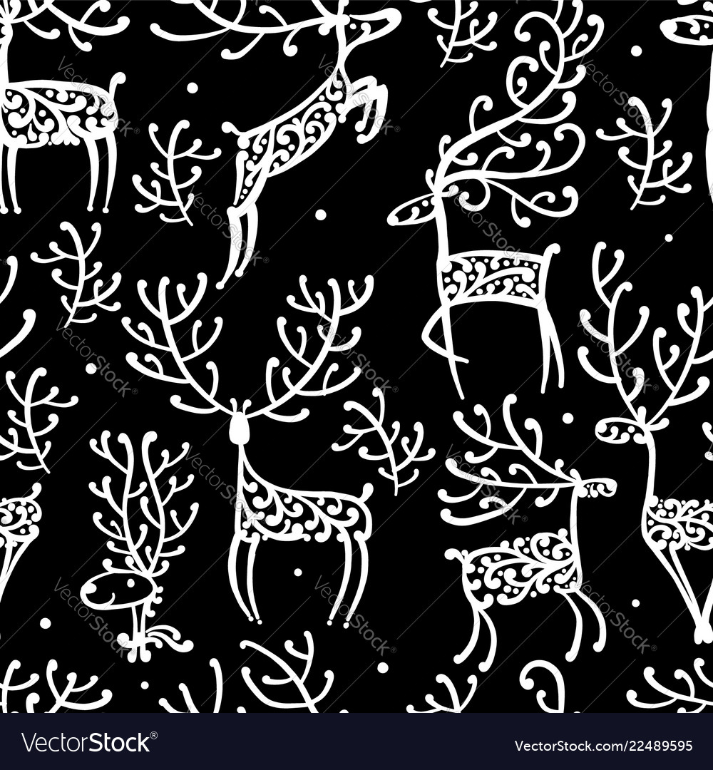 Ornate deers seamless pattern for your design