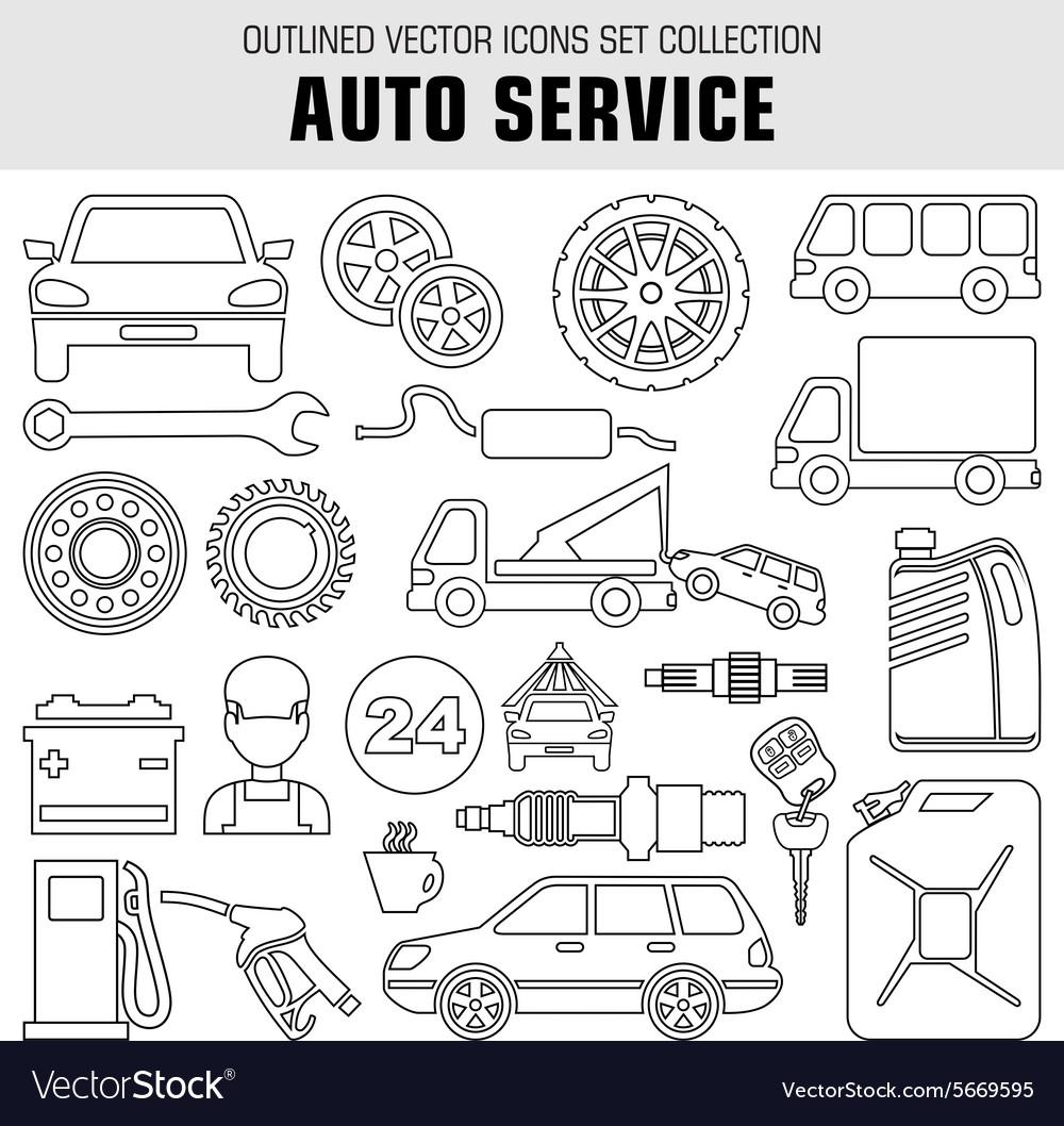 Outline set autoservice icons