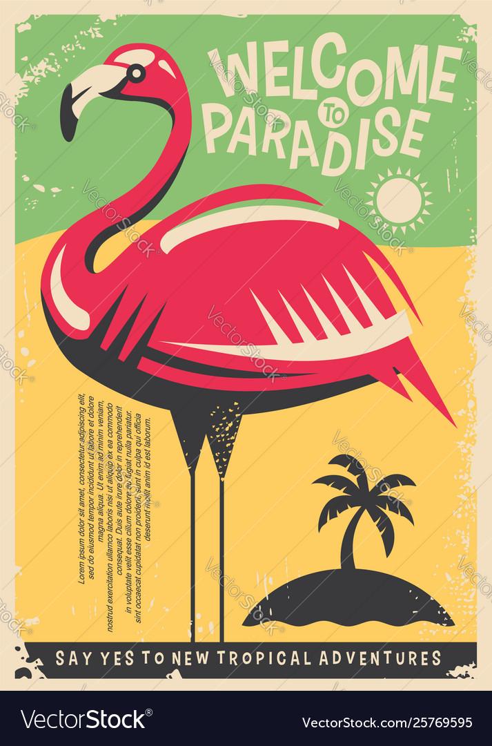 Pink flamingo retro poster design