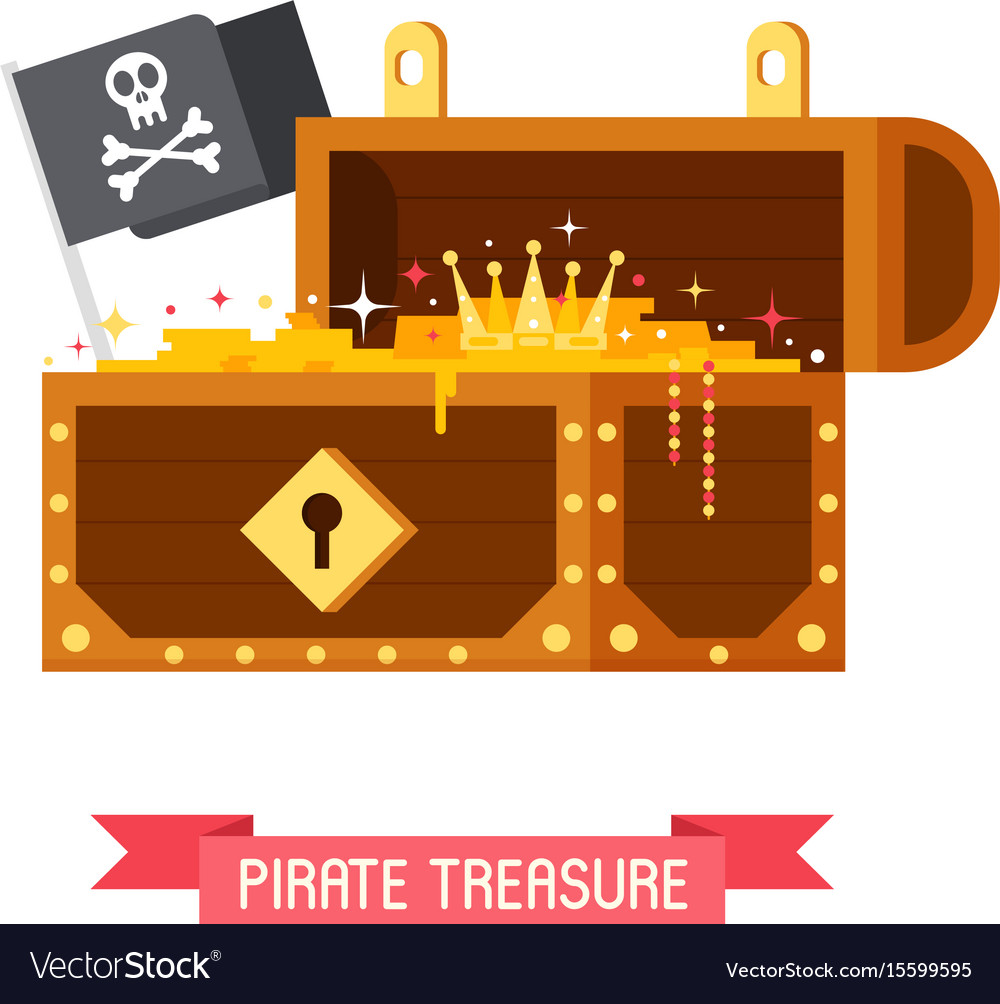 Pirate treasure chest and jolly roger flag