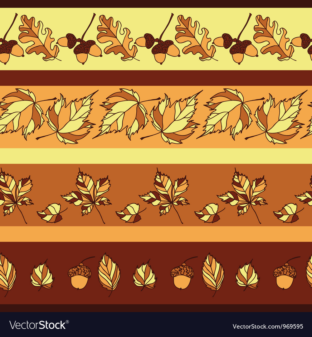 Seamless pattern with autumn leaves and acorns