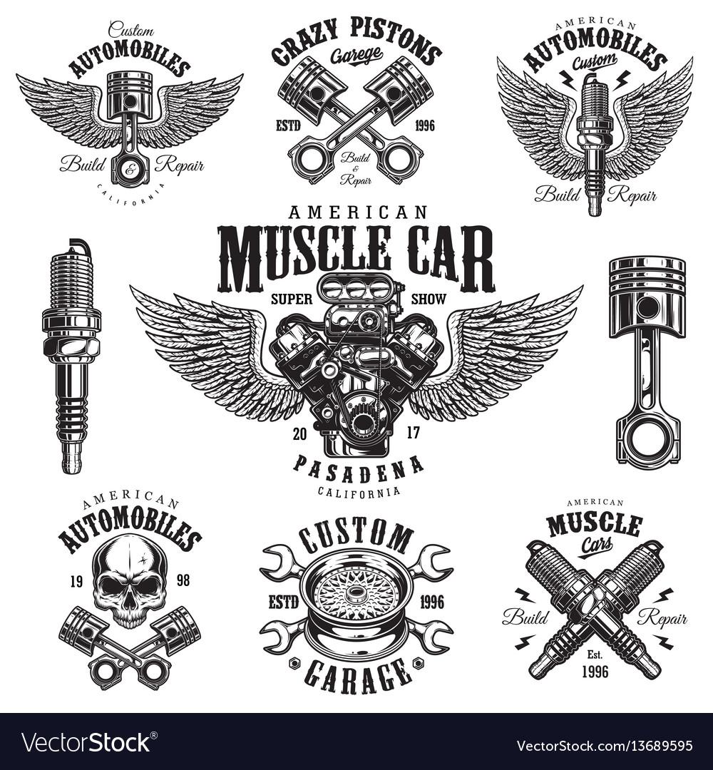 Set vintage monochrome car repair emblems