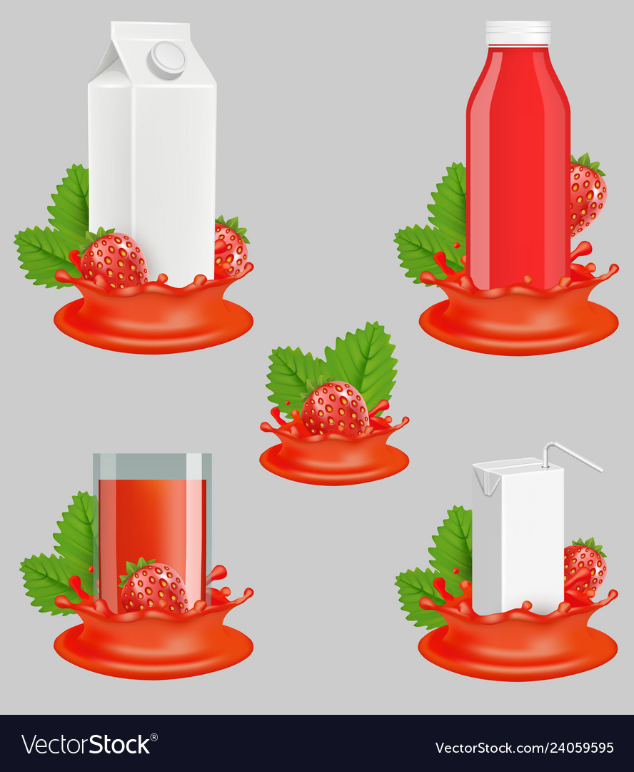 Strawberry juice package realistic mockup