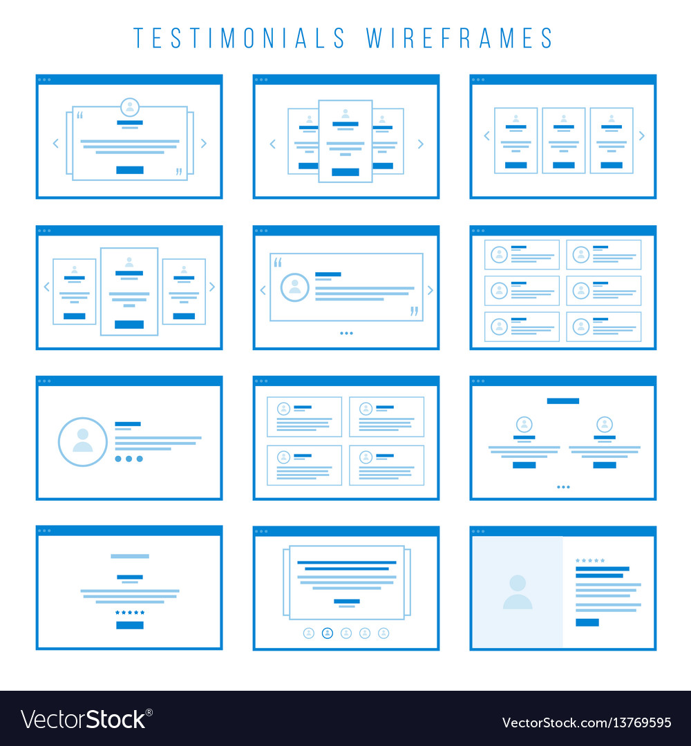 Testimonials wireframe components for prototypes