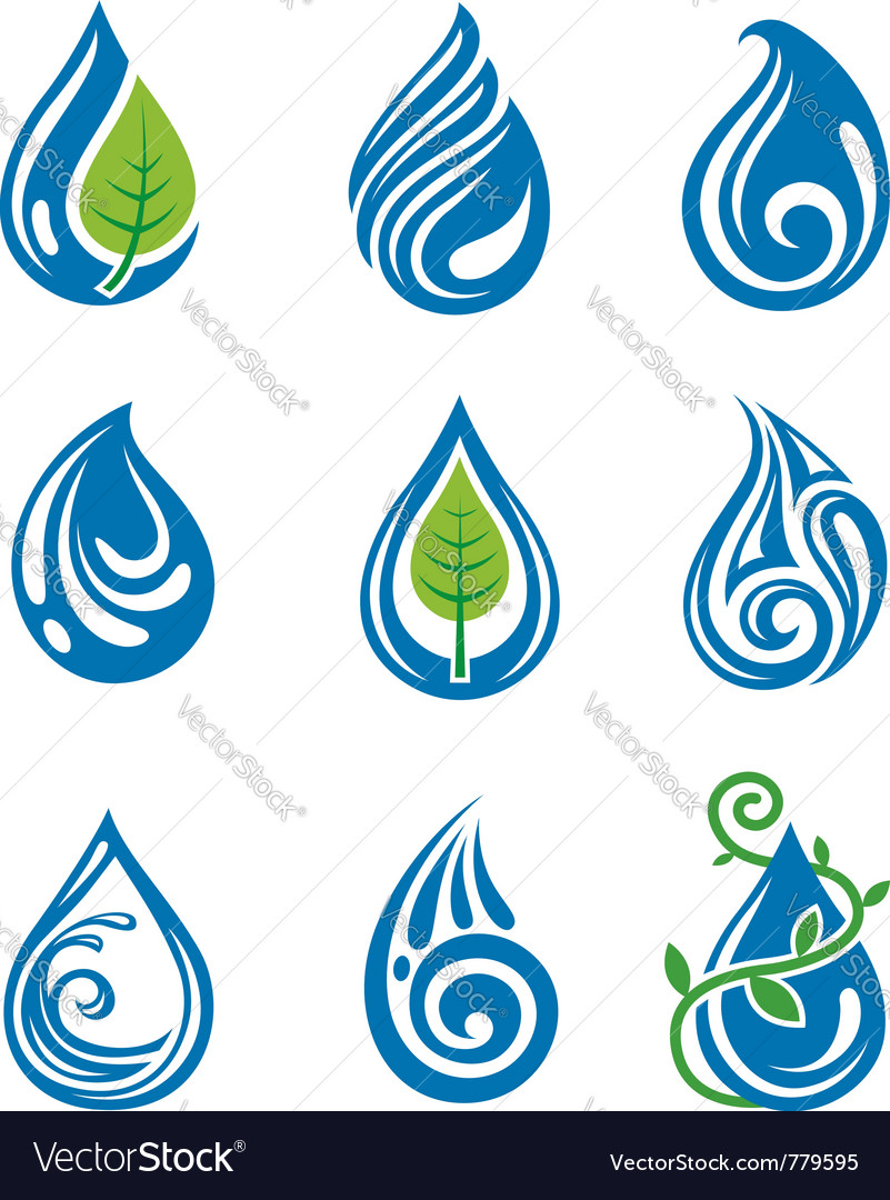 Water drops icons vector image