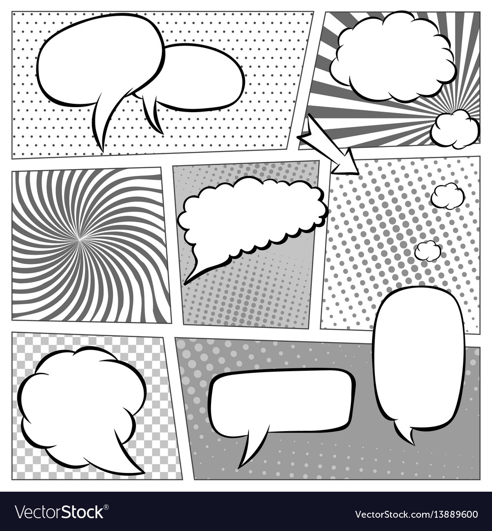 Comic book page template with halftone effect and vector image