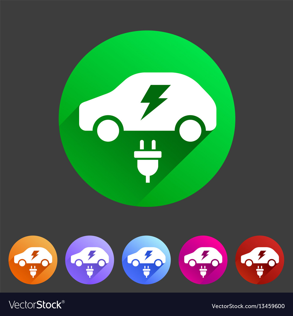 Electric car icon flat web sign symbol logo label
