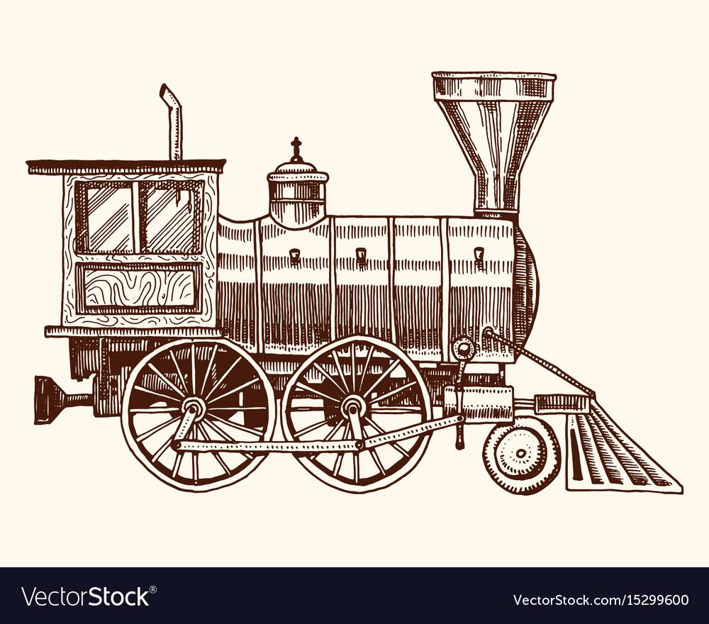 Engraved vintage hand drawn old locomotive or vector image