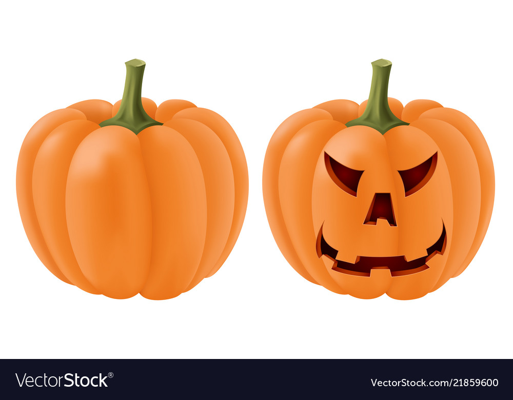 Halloween pumpkin set with angry face carving