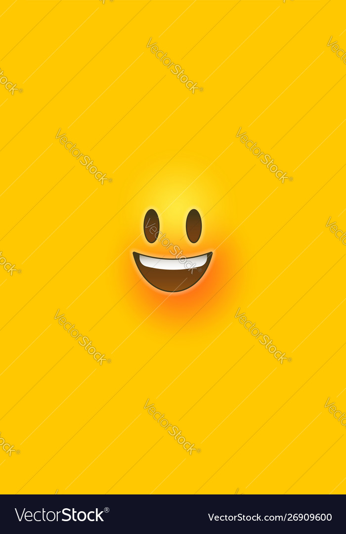 happy yellow 3d emoticon face phone background vector 26909600