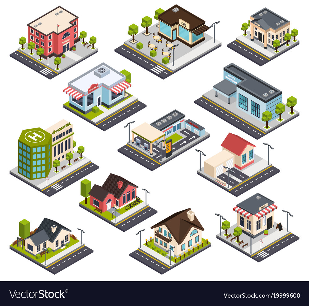 Isometric city buildings set