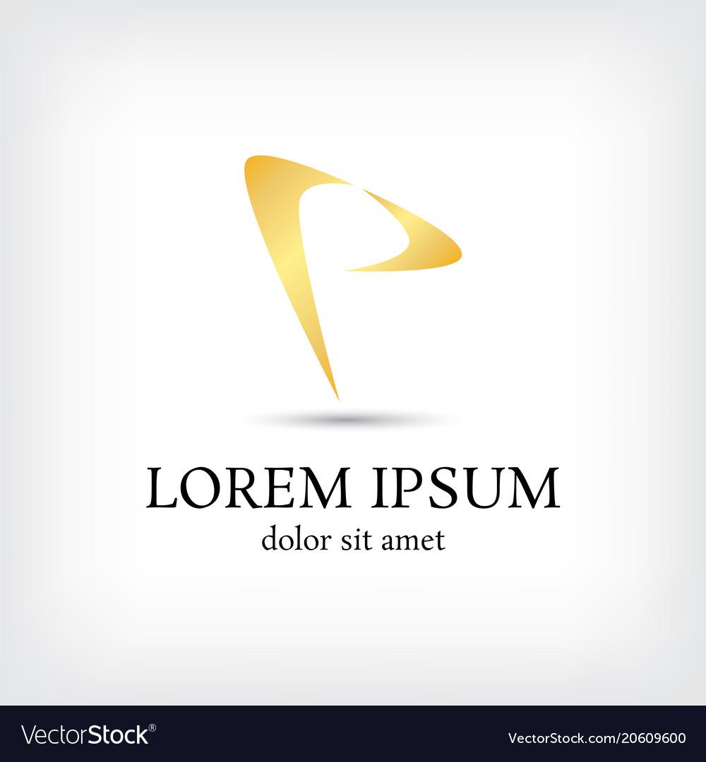 Letter p logo curve style design template