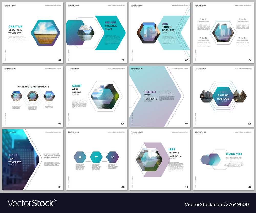 Minimal brochure templates with colorful hexagonal