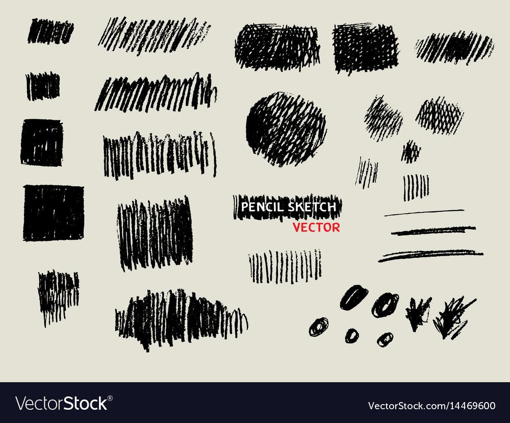 Pencil doodle sketch texture background set vector image