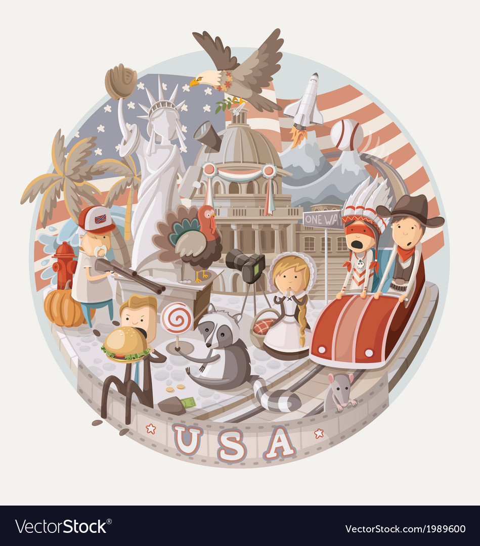 Plate design with items from USA vector image