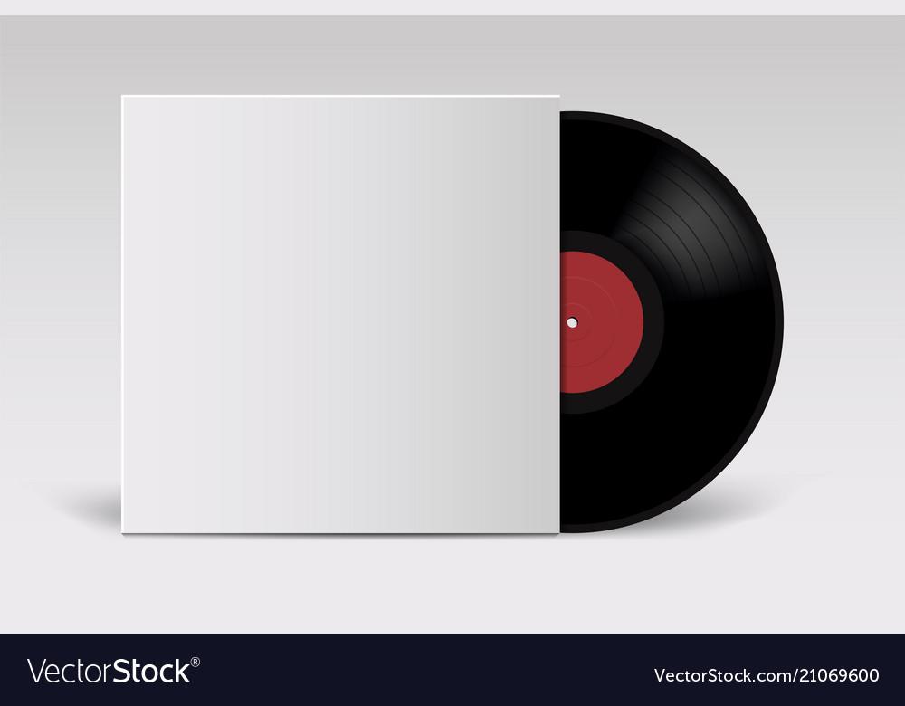 Realistic vinyl record with cover mockup retro