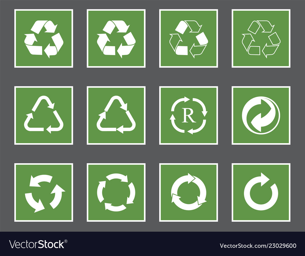 Recycling labels set recycle icons and symbols