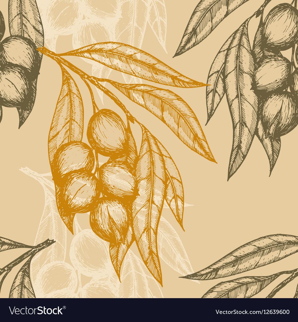 Seamless pattern based on engraving vector image