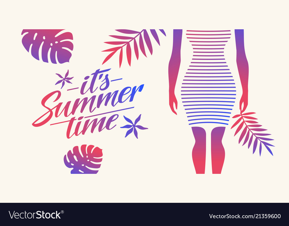 Stylish summer poster with tropical leaves and