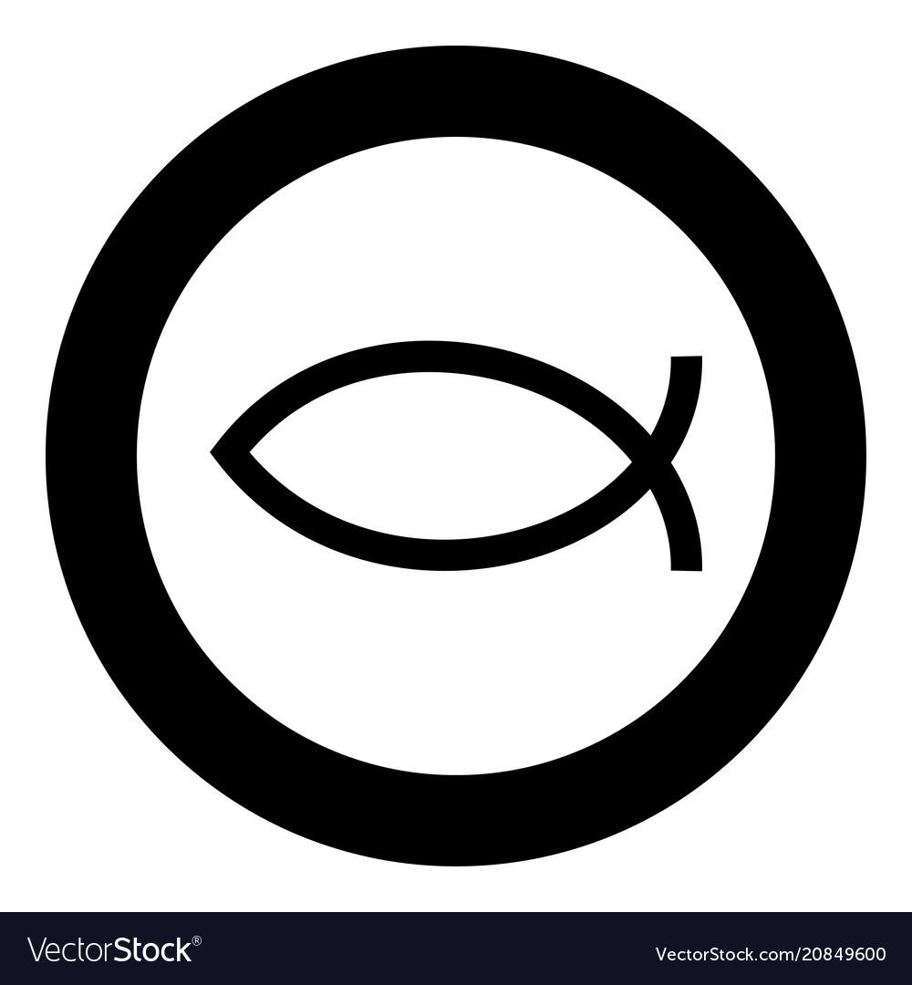 Symbol fish icon black color simple image vector image