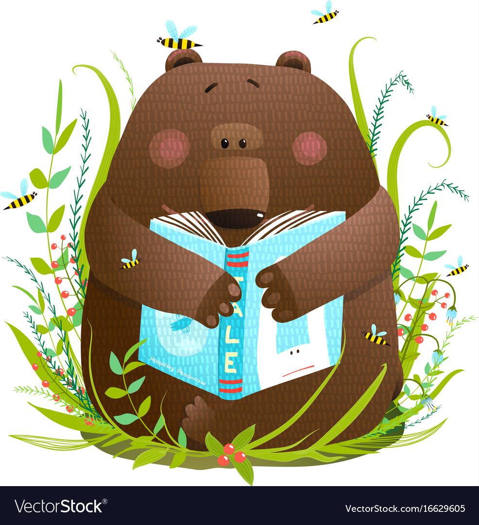 Bear cub reading book cute cartoon
