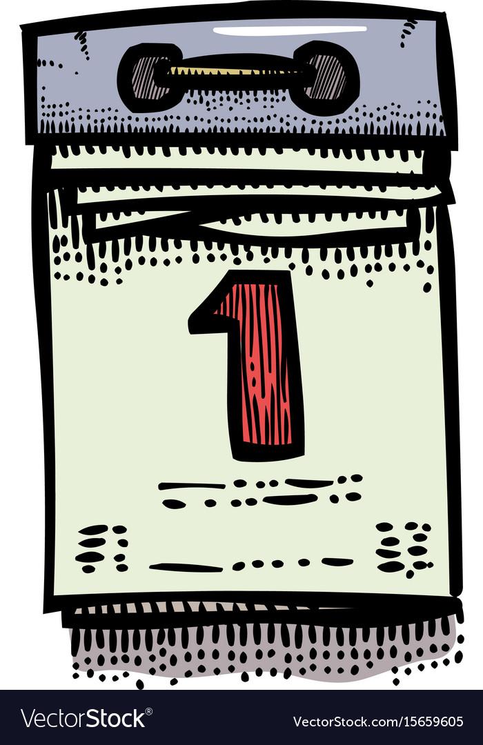 Cartoon image of calendar icon flat vector image