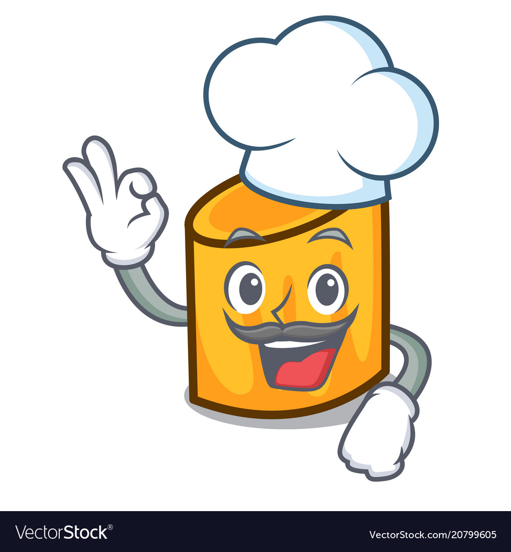 Chef rigatoni character cartoon style
