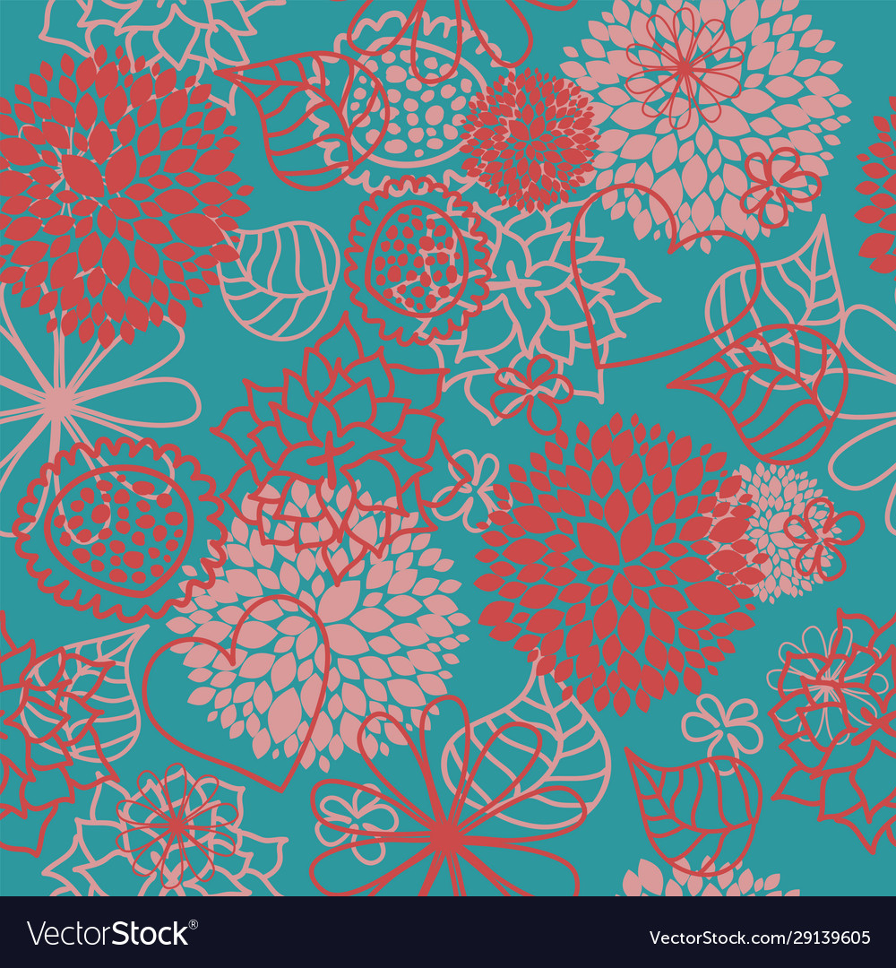 Floral seamless background with hearts