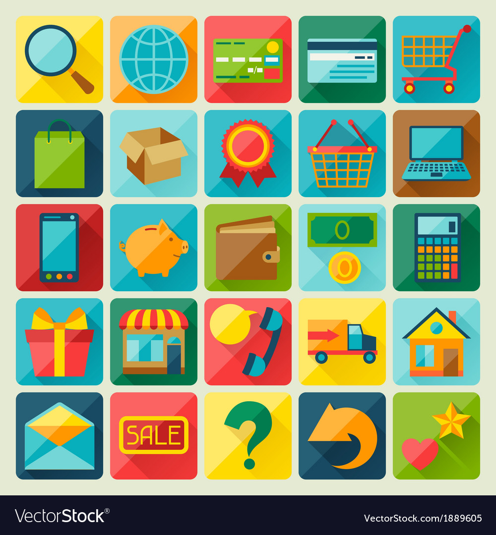 Internet shopping icon set in flat design style