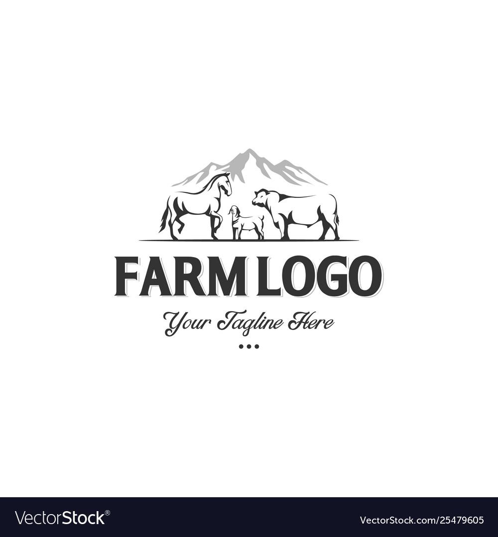 Monochrome label farm animals cow horse and