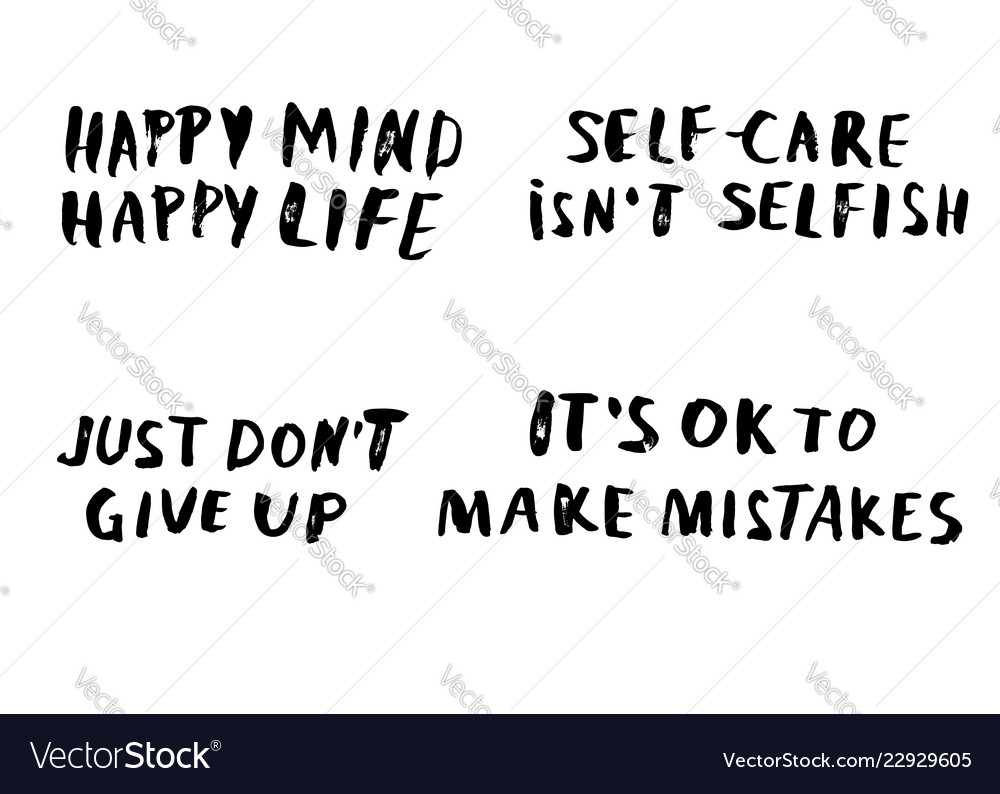 Quotes Set Just Dont Give Up Royalty Free Vector Image