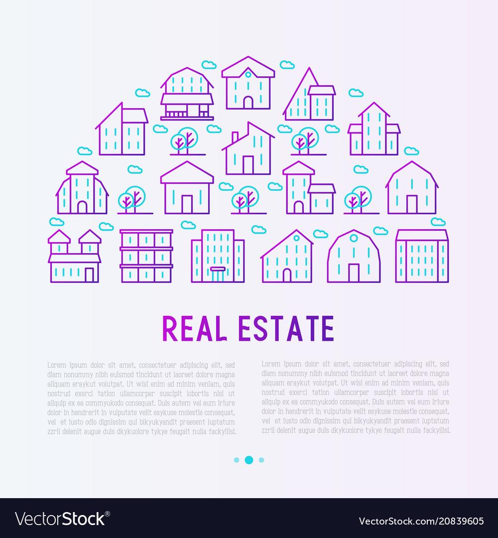 Real estate concept in half circle
