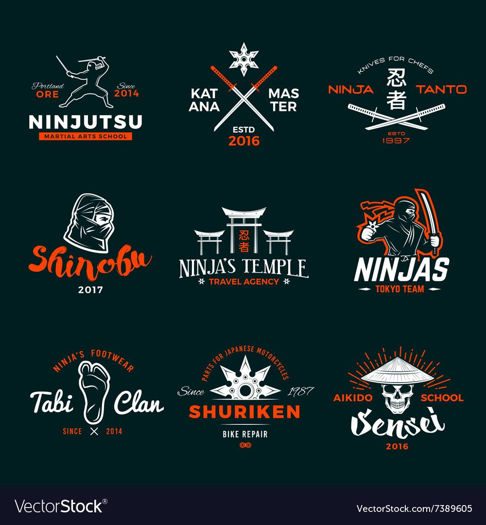Set of Japan Ninja Logo Ninjato sword insignia