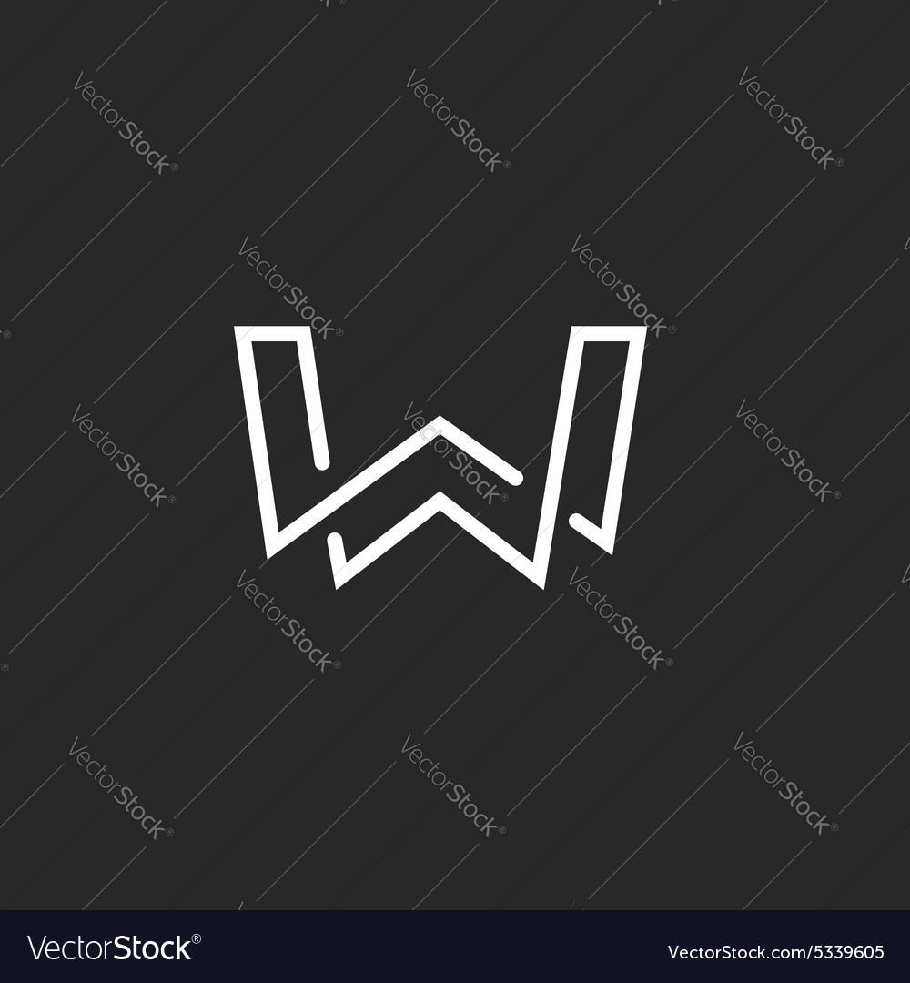 W letter logo monogram modern mockup black and vector image