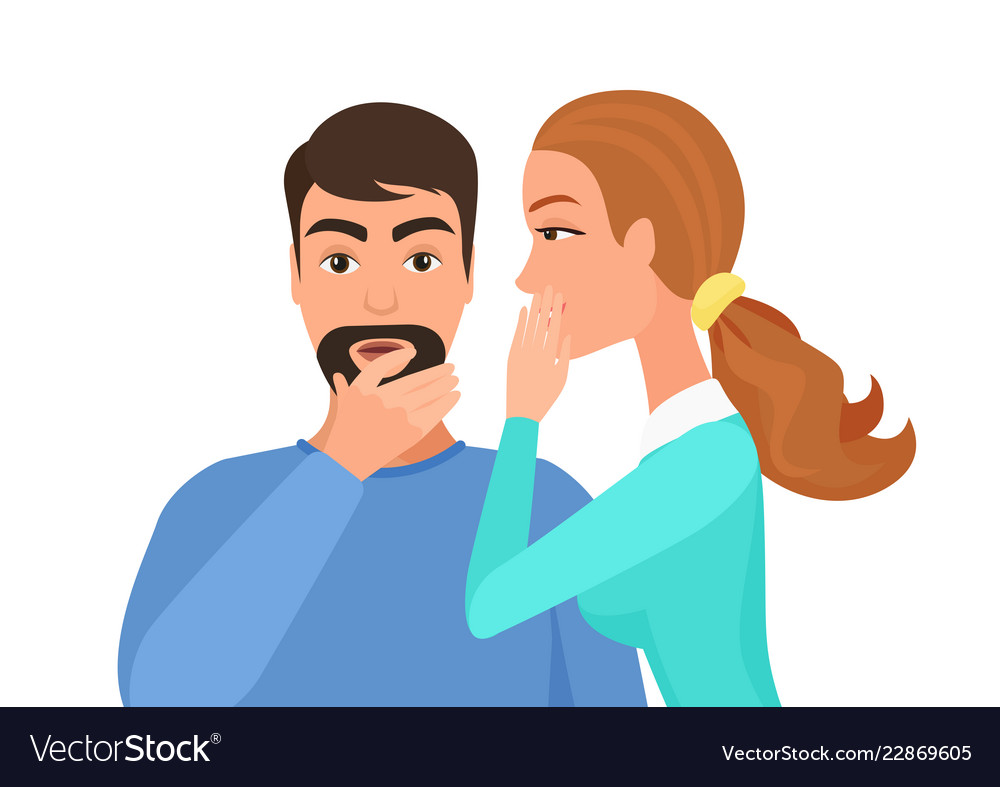 Woman whispering gossip or secret rumors to man