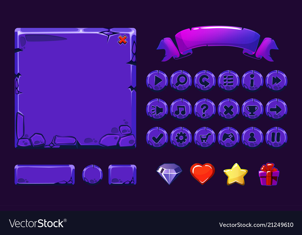 Big set cartoon neon purple stone assets and