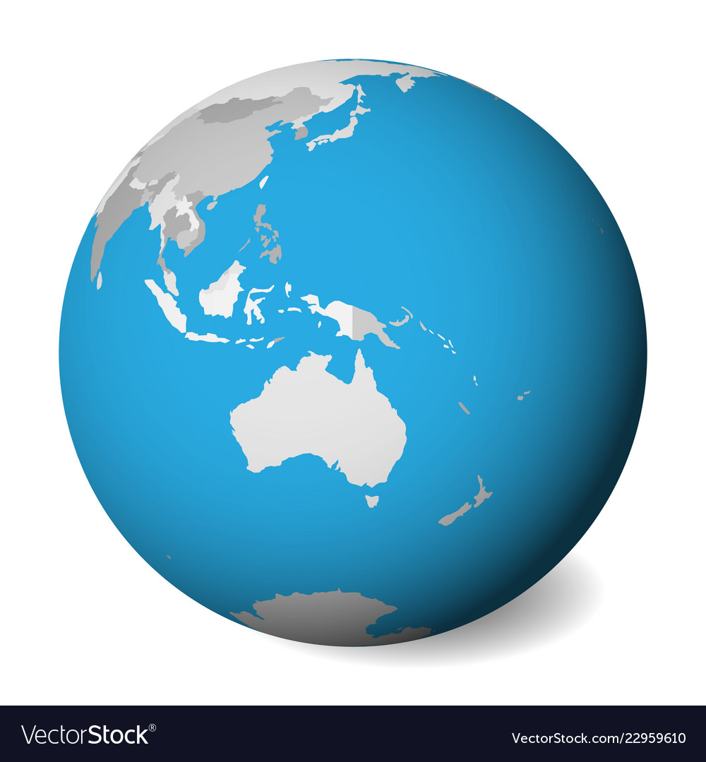 Blank Political Map Of Australia 3d Earth Globe Vector Image