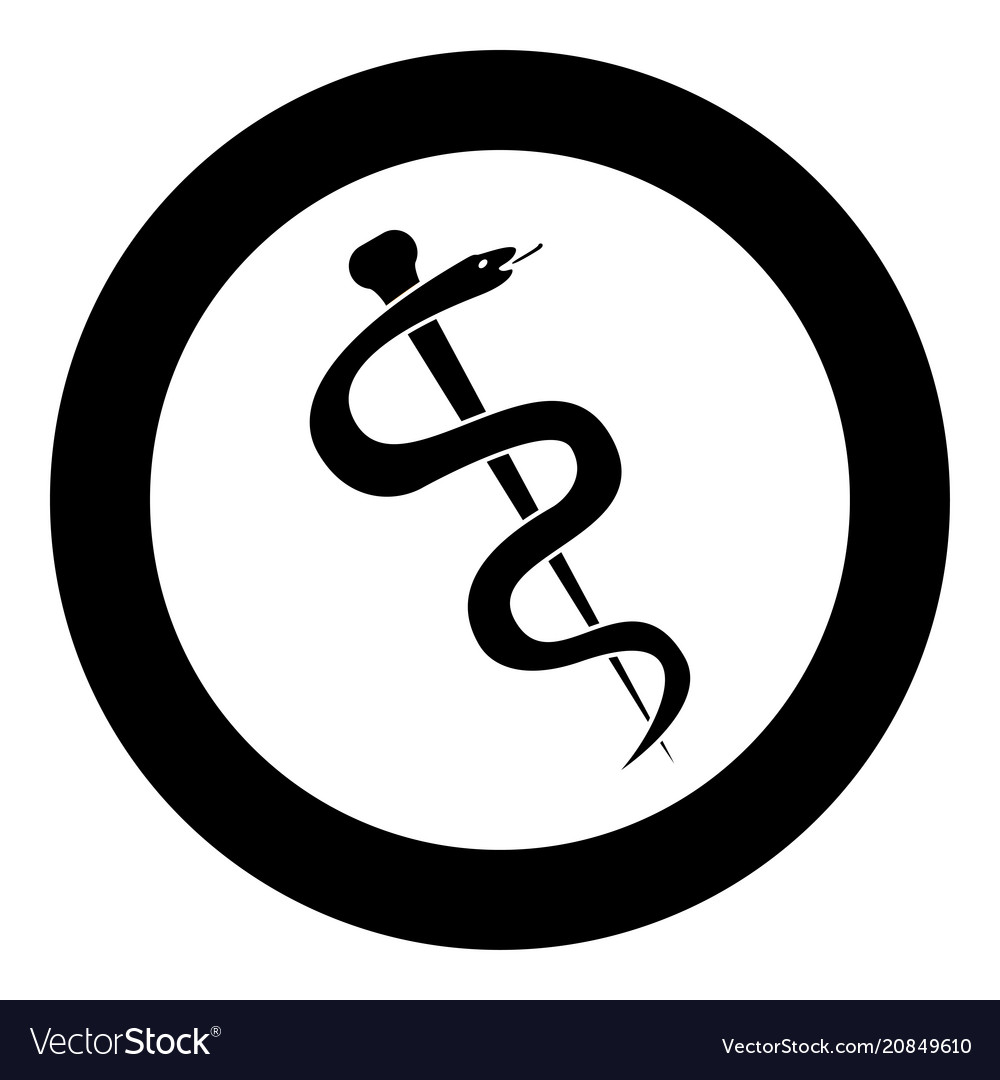 Caduceus Or Staff Of Asclepius Symbol Icon Black Vector Image