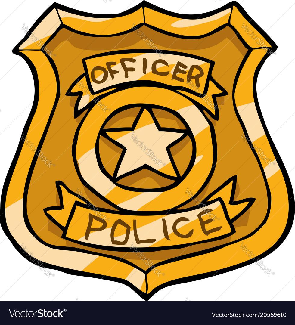 cartoon doodle police badge royalty free vector image rh vectorstock com Food Police Badge cartoon cop badge