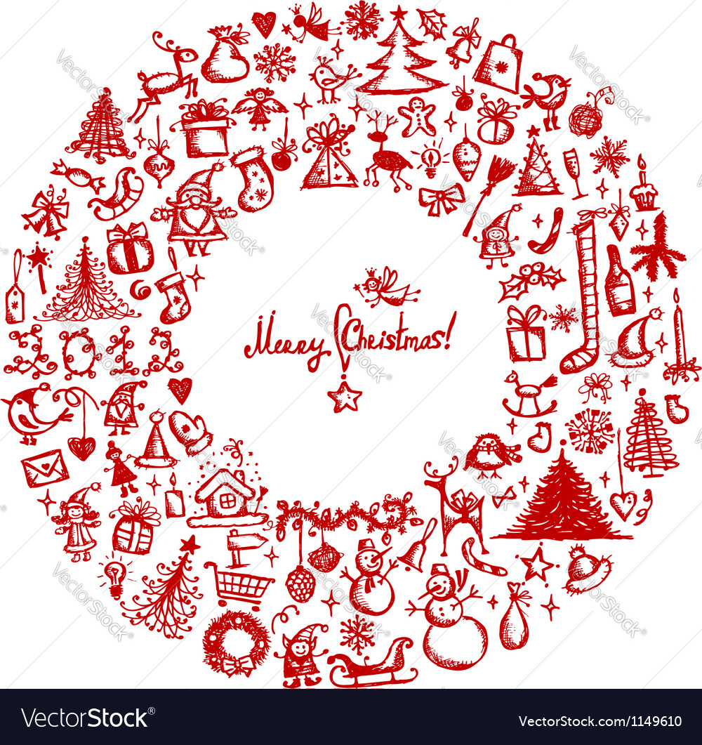 Christmas wreath sketch drawing for your design vector image