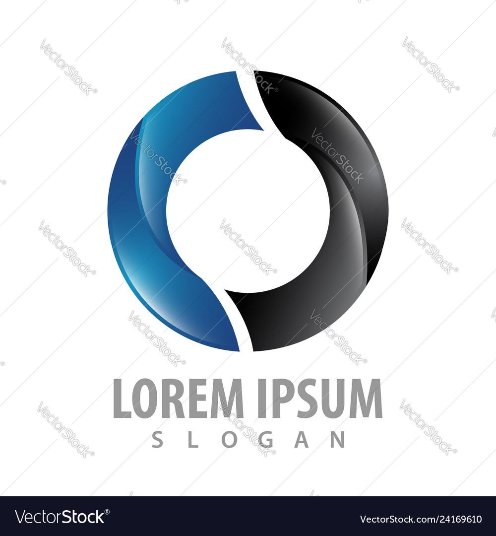 Circle shiny black blue logo concept design