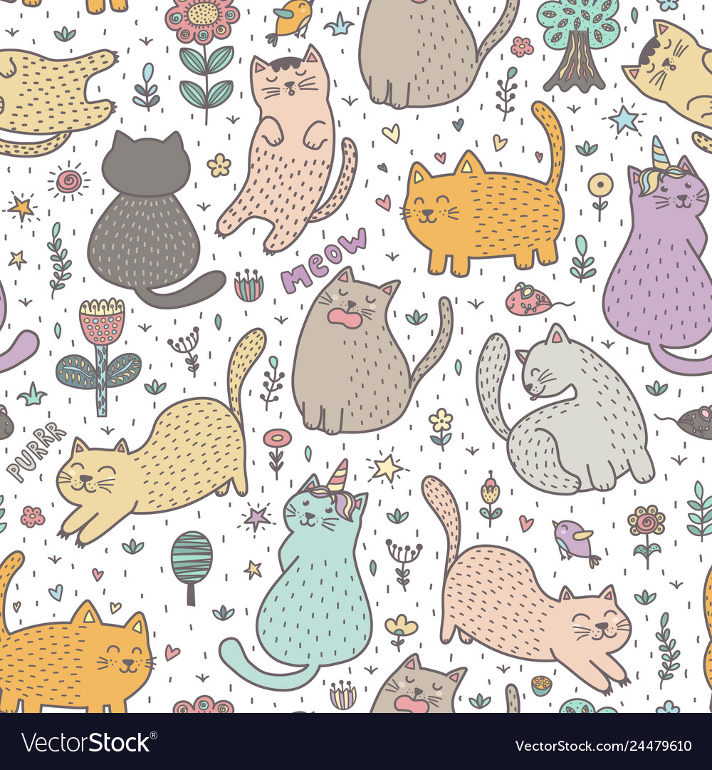 Cute cats in summer seamless pattern