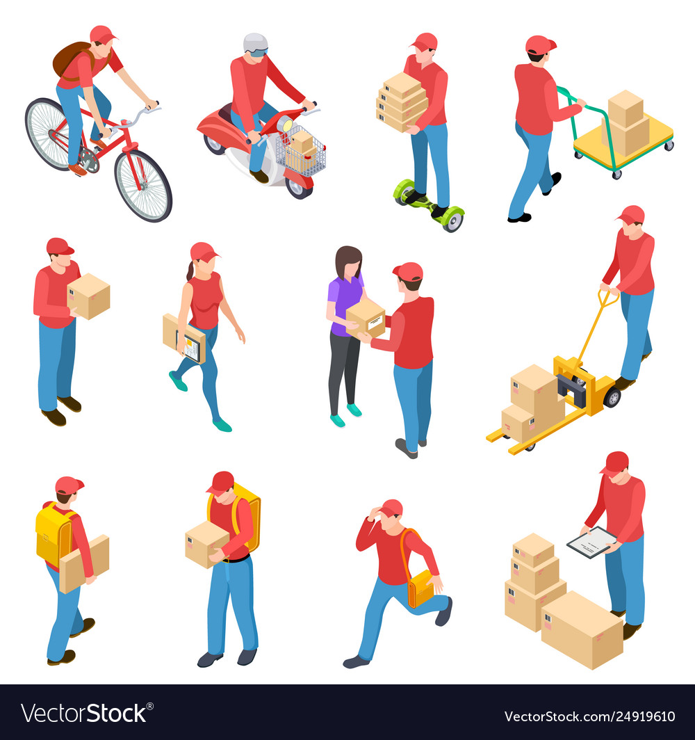 Delivery isometric couriers deliveries postman