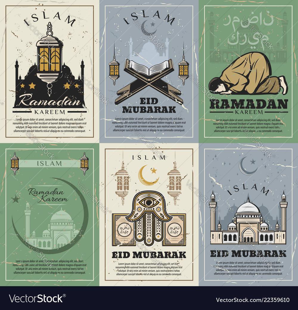 Eid mubarak and ramadan kareem holiday