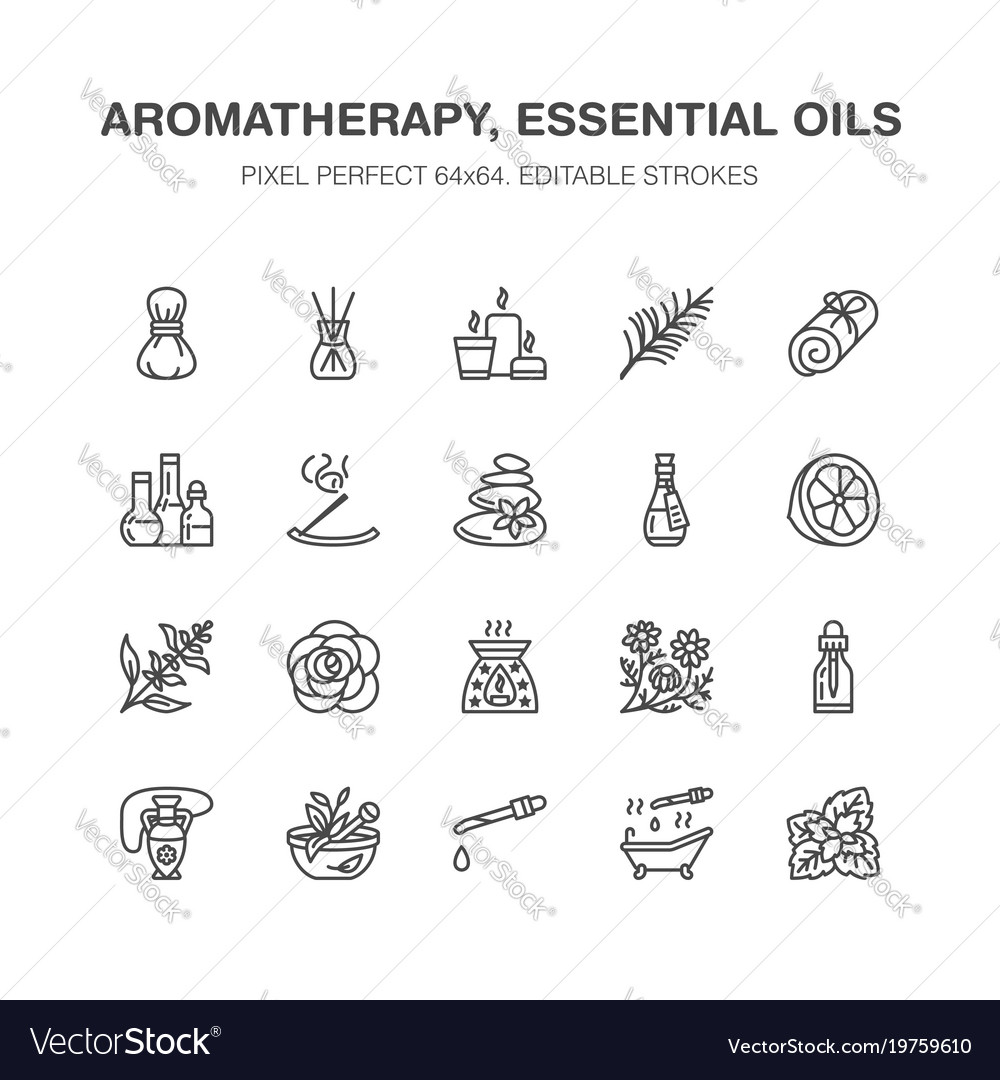 Essential oils aromatherapy flat line icons