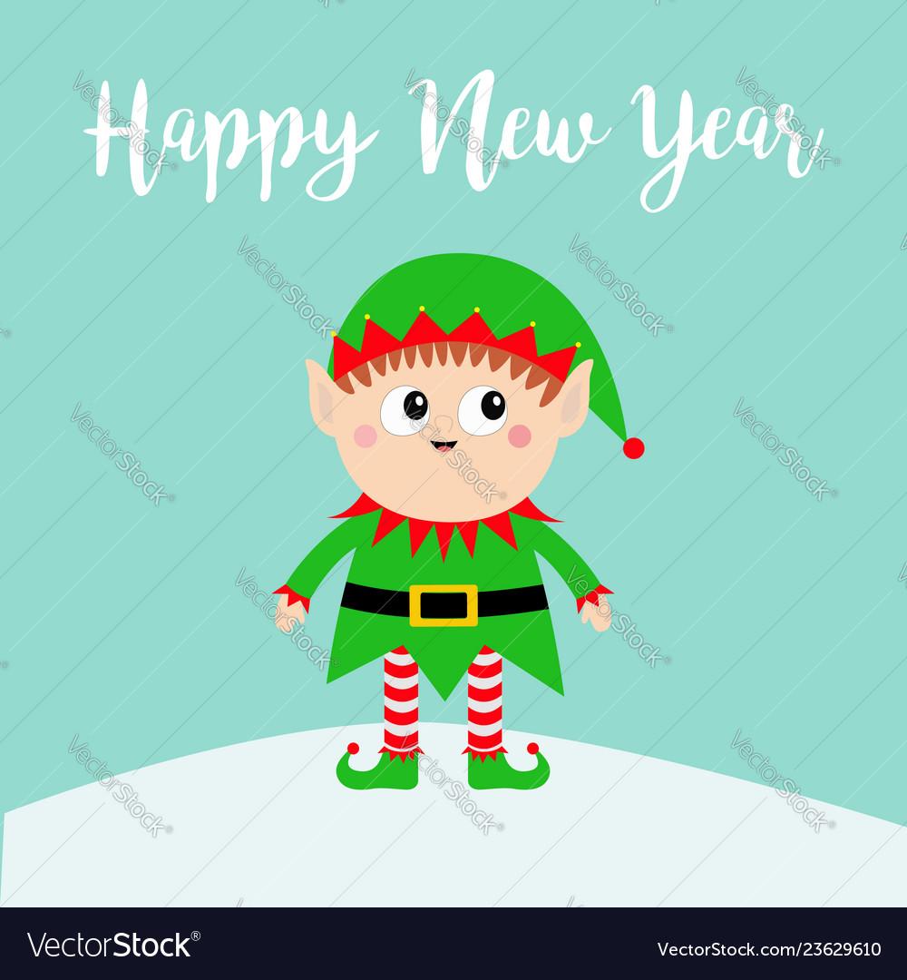Happy new year santa claus elf on snowdrift green
